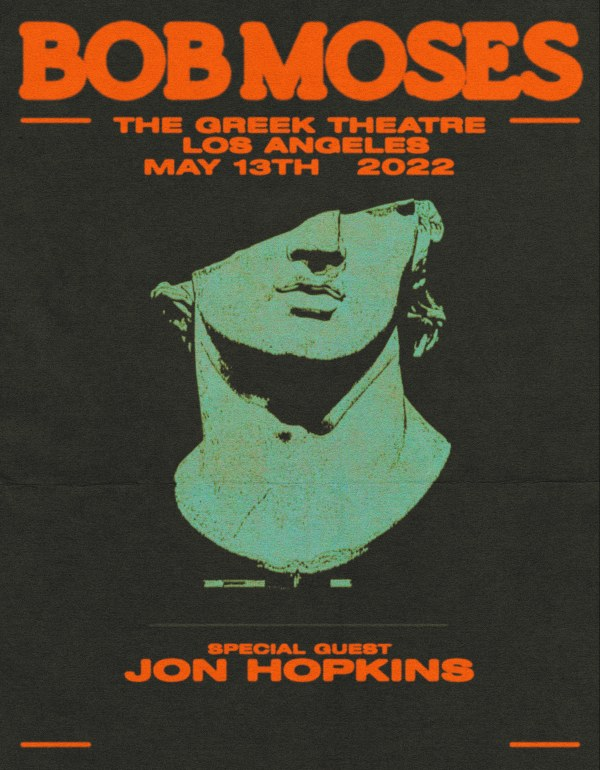 Bob Moses announce show with Jon Hopkins at LA's The Greek Theatre On May 13, 2022