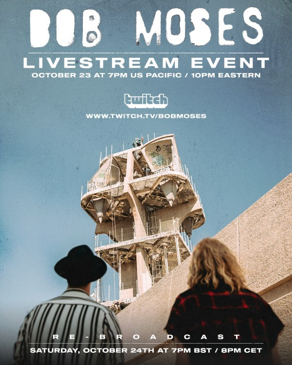 Bob Moses & Twitch announce exclusive partnership, launching with a livestream concert Friday, October 23